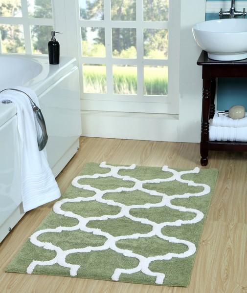 Saffron Fabs Bath Rug Cotton, 50x30 In, Anti-Skid, Sage Green/White, Geometric, Washable
