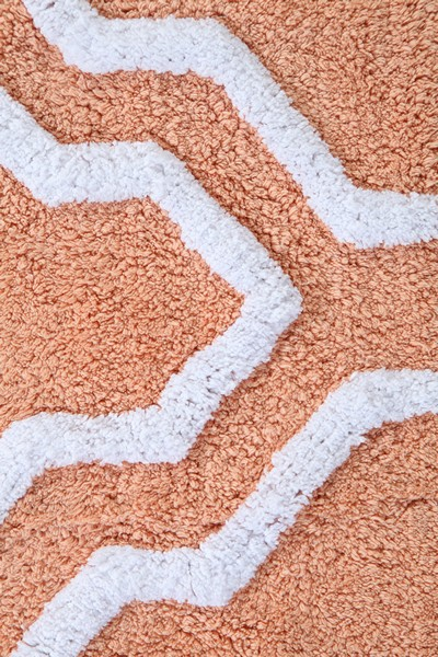 Saffron Fabs Bath Rug Cotton, 50x30, Anti-Skid, Coral/White, Geometric, Washable, Quatrefoil