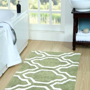 Saffron Fabs Bath Rug Cotton, 50x30, Anti-Skid, Sage Green/White, Washable Quatrefoil
