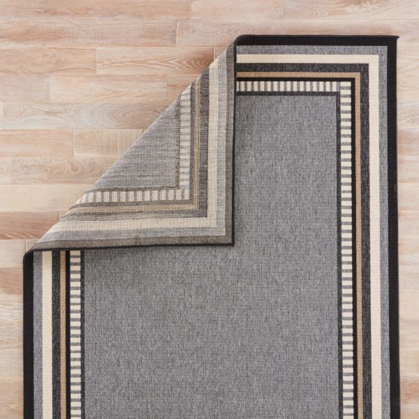 "Jaipur Living Matted Indoor/ Outdoor Bordered Gray/ Black Area Rug (2'X3'7"")"