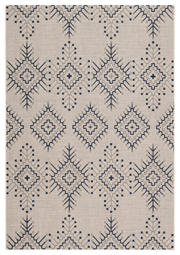 "Jaipur Living Compass Indoor/ Outdoor Tribal Ivory/ Blue Area Rug (2'X3'7"")"