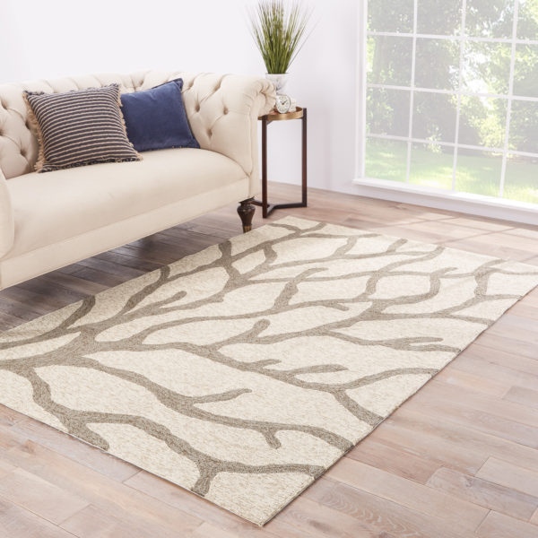 Jaipur Living Coral Indoor/ Outdoor Abstract White/ Gray Area Rug (2'X3')