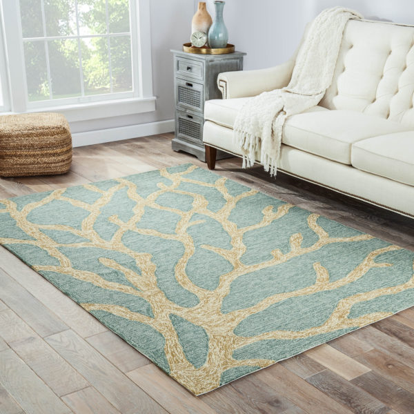 Jaipur Living Coral Indoor/ Outdoor Abstract Teal/ Tan Area Rug (2'X3')