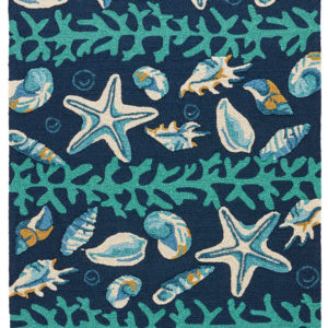 Jaipur Living Surf Indoor/ Outdoor Animal Dark Blue/ Green Area Rug (2'X3')