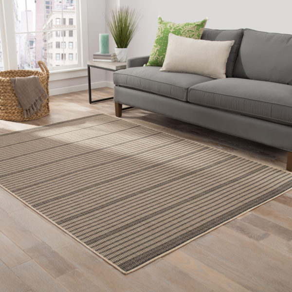 Jaipur Living Middlebrook Indoor/ Outdoor Stripe Black/ Beige Area Rug (2'X3')