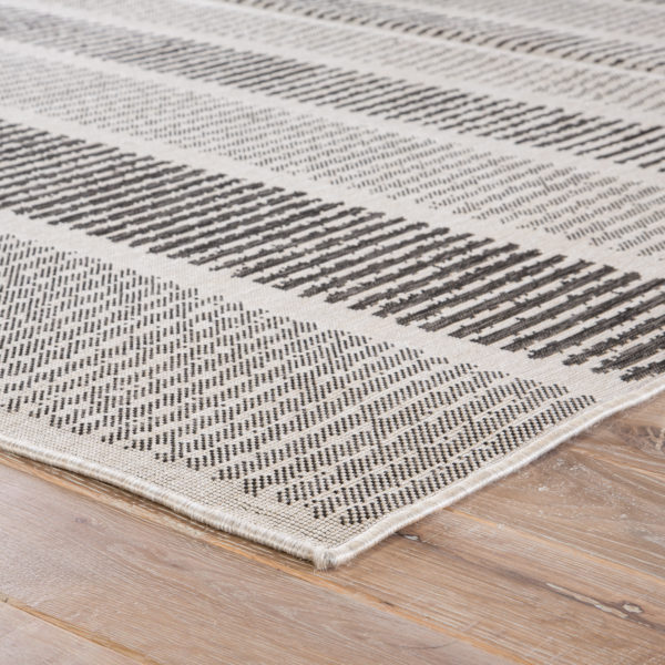 Jaipur Living Cado Indoor/ Outdoor Stripe Gray/ Black Area Rug (2'X3')