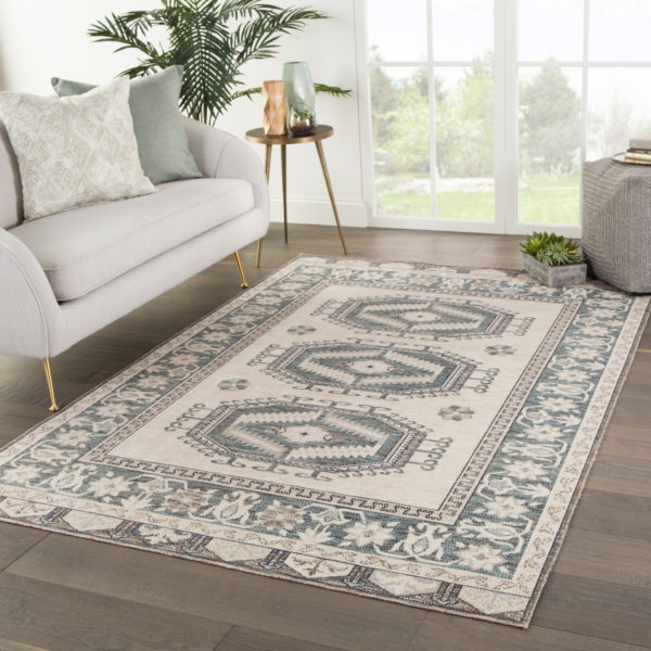 Jaipur Living Miner Indoor/ Outdoor Medallion Light Teal/ Gray Area Rug (2'X3')